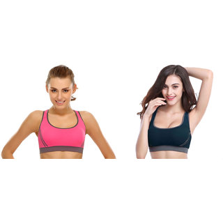 318f1e9ecd5f4 Bahucharaji Creation New Pink   Green Colour Women s Yoga Stretch Workout  Seamless Padded Sports Bra (Pack of 2)