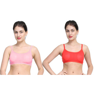 Bahucharaji Creation Pink & Red Colour Back 3 Straps With Padded Women's Cotton Bra (Pack of 2)