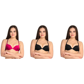 7f595ca4cbc Bahucharaji Creation Pink   Black Everyday Multipurpose Front Closure    Front Open Pushup Bra(Size   32)(Pack of 3)