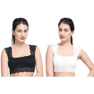 Bahucharaji Creation New Black & White Colour Lace Bra Cum Readymade Blouse Padded With Soft Cups (Pack of  2)