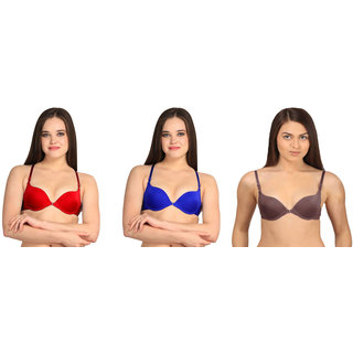 Bahucharaji Creation Red & Blue & Brown Everyday Multipurpose Front Closure & Front Open Pushup Bra(Size : 34)(Pack of 3)