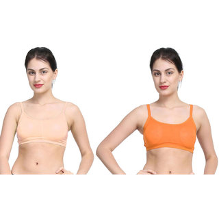 Bahucharaji Creation Beige & Orange Colour Back 3 Straps With Padded Women's Cotton Bra (Pack of 2)
