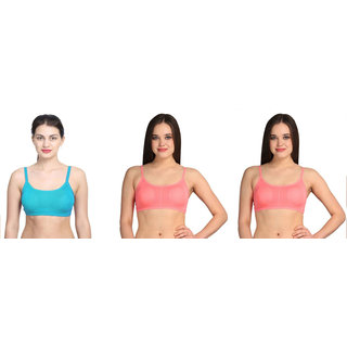 Bahucharaji Creation Blue & Pink Colour Back Six Straps With Padded Women's Cotton Bra (Pack of 3)