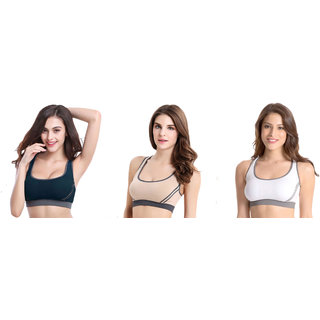 Bahucharaji Creation New  Green & Beige & White Colour Women's Yoga Stretch Workout Seamless Padded Sports Bra (Pack of 3)