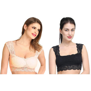 Bahucharaji Creation New Black & Beige Colour Lace Bra Cum Readymade Blouse Padded With Soft Cups (Pack of  2)