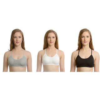 Bahucharaji Creation New Gray & White & BlackColour Hick Strap Pyramid Bralette Full-Coverage Cage Padded  Bras(Pack of 3)