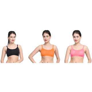 Bahucharaji Creation Black & Orange & Pink Colour Back 3 Straps With Padded Women's Cotton Bra (Pack of 3)