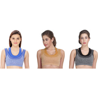 Bahucharaji Creation New Blue & Beige & Black Womens Sports Bra Full Cup Mock Two-Piece Design Push-Up Fitness Bra(Pack of 3)