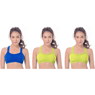 Bahucharaji Creation Blue & Yellow Colour Full-Coverage With Cross Straps Sports Bra(Pack of 3)