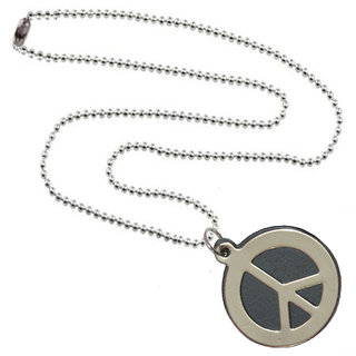 Men Style Peace Sign Symbol Blue Stainless Steel Round Pendent  For Men And Boys