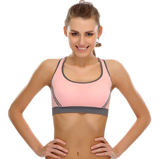 Bahucharaji Creation New  Pink Colour Women's Yoga Stretch Workout Seamless Padded Sports Bra (Pack of 1)