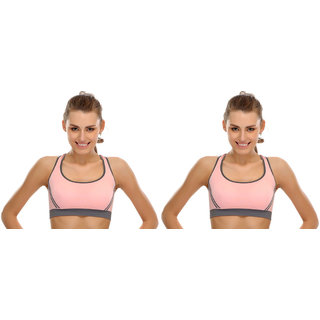 Bahucharaji Creation New  Pink Colour Women's Yoga Stretch Workout Seamless Padded Sports Bra (Pack of 2)