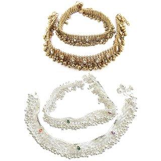 Dipali Diva Precious Diamond Studded Anklet and Goldan Kundan Alloy Anklet Combo