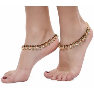 Gold Plated Multicolor Alloy Anklets For Women
