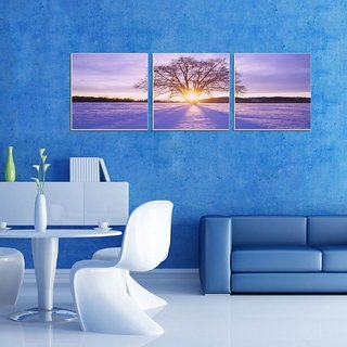 Decor Kafe tree With Sunset Three Pieces Wall Poster