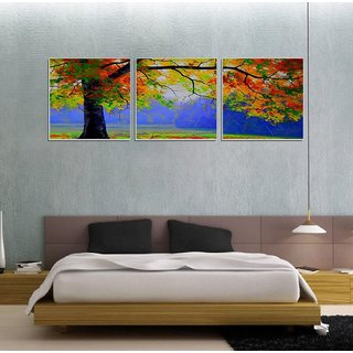 Decor Kafe Colorfull tree three Pieces Wall Poster