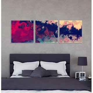 Decor Kafe Abstract Color Three Pieces Wall Poster