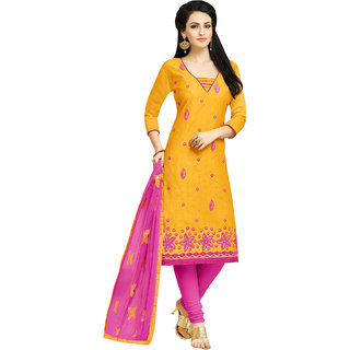 Sareemall Yellow Embroidered Modal Butti Dress Material