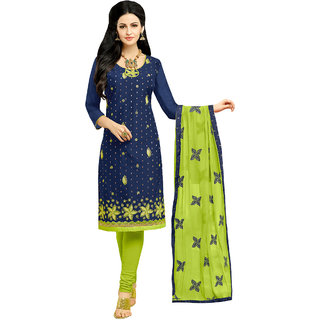 Sareemall Navy Blue Embroidered Modal Butti Dress Material