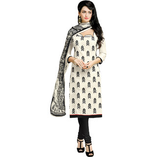 Sareemall Off White Embroidered Chanderi Dress Material