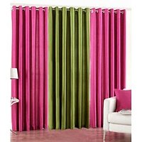 Handloomhut Pack Of 3 Beautiful Plain Eyelet Door Curtain (2dark Pink&green)