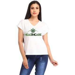 White Poly Cotton Printed Casual Wear Tshirts
