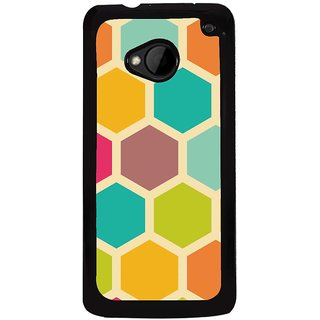 Ayaashii Colorful Hexagon Pattern Back Case Cover for HTC One M7::HTC M7