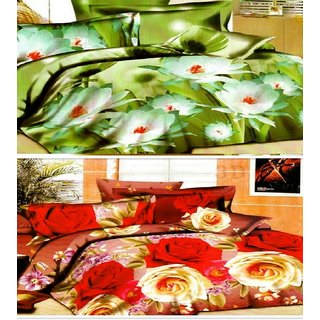 Rohilla  Super Soft 3D 2 Double Bedsheets Combo With 4 Pillow Coversassorted color combo pack