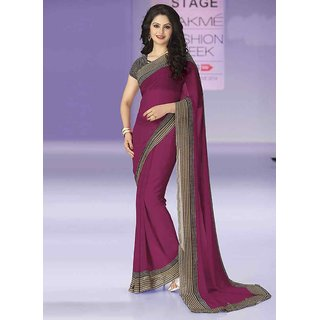 Swaron Pink Georgette Printed Saree With Blouse