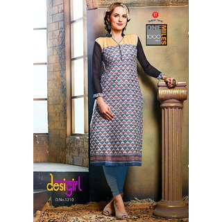 Blue Graphic Print Chiffon Cotton Kurta/Kurti