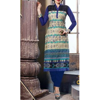 Blue Printed Chiffon Cotton Kurta/Kurti