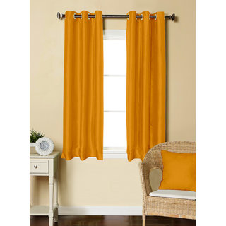 Lushomes Yellow Dupion Silk Curtain with 6 plastic eyelets (Pack of 2 pcs) for Windows