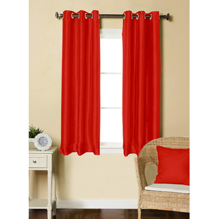 Lushomes Red Dupion Silk Curtain with 6 plastic eyelets (Pack of 2 pcs) for Windows