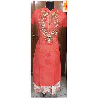 Blue Pink Animal Brasso Taffeta Fur Dress Material
