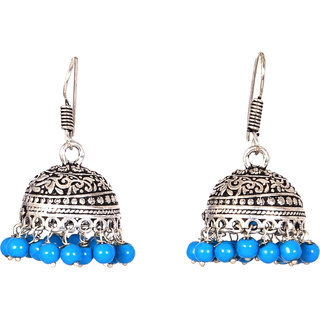 SK Fashion Earring Blue Color Brass Jhumka For Women-DSCN0287LB