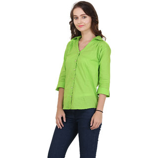 New Fashion Meee Life Style Women V-Nec Collar Lime Green plain Sleeve Fitted cotton Shirt