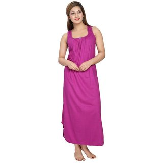 Be You Fashion Women's Cotton Night Gown (Magenta)