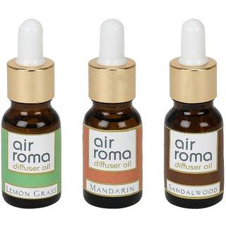 AirRoma Combo of 3 Lemon Grass, Mandarin & Sandalwood Aroma Oils 30ml Each