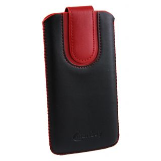 Emartbuy Black / Red Plain Premium PU Leather Slide in Pouch Case Cover Sleeve Holder ( Size LM4 ) With Pull Tab Mechanism Suitable For Coolpad Modena 2