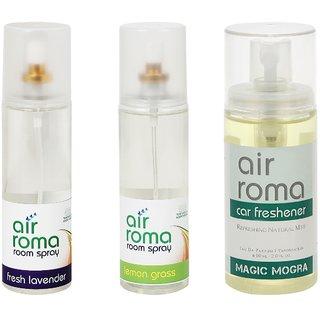 AirRoma Combo of Fresh Lavender & Lemon Grass Air Freshener Sprays 200ml & Magic Mogra Car Freshener 60ml