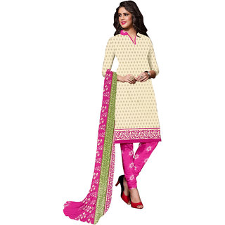 Trendz Apparels BEIGE,RANI Printed Dress Material With Matching Dupatta TASJP205C