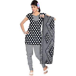 Trendz Apparels BLACK,WHITE Printed Dress Material With Matching Dupatta TASJP3198