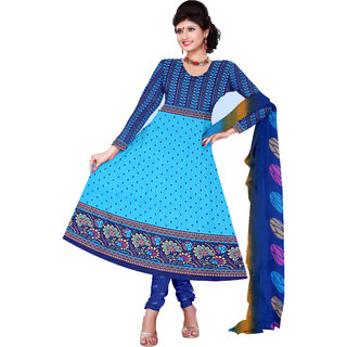 Trendz Apparels Blue,Sky Blue Printed Dress Material With Matching Dupatta TASJP3277