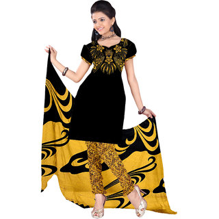 Trendz Apparels Black,Yellow Printed Dress Material With Matching Dupatta TASJP4026YELLOW
