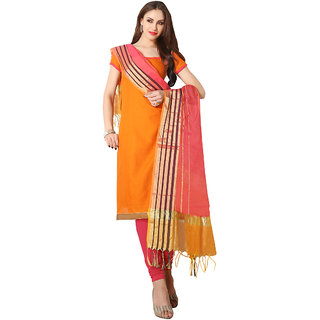 Trendz Apparels Orange Plain Stylish Dress Material VS4401