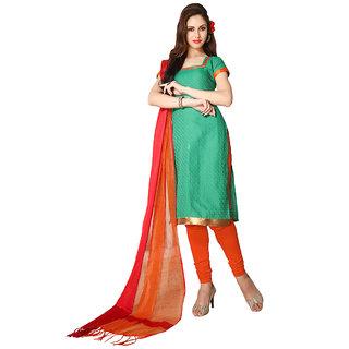 Trendz Apparels Green Plain Stylish Dress Material VS4410