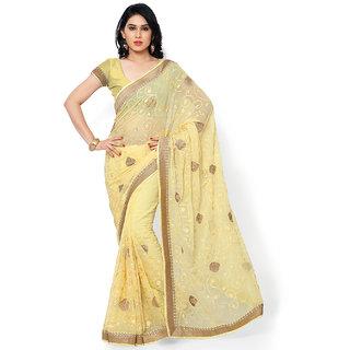 Subhash Party Wear Light Yellow Color Chiffon Saree/Sari