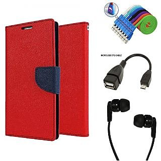 Wallet Flip Case Back Cover For Reliance Lyf Water 5  - Red With Champ Earphone(3.5mm jack) + Micro USB OTG Cable + Usb Smiley Cable Combo Set