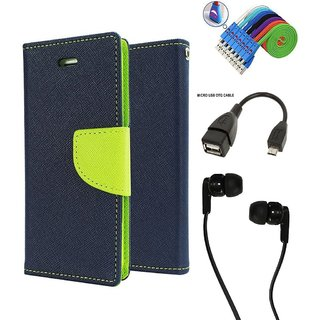 Wallet Flip Case Back Cover For Moto E 2  - Blue With Champ Earphone(3.5mm jack) + Micro USB OTG Cable + Usb Smiley Cable Combo Set