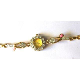 American Diamond Studded Women's Golden Wrist Watch- Round